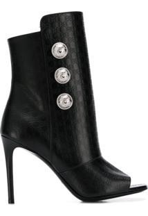 Balmain Ankle Boot Com Monograma - Preto