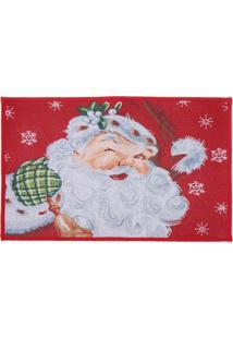 Tapete Papai Noel Decoração Natal 48X69Cm Vermelha
