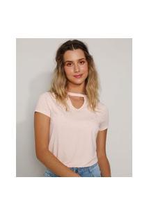 Camiseta Feminina Básica Choker Com Pérolas Manga Curta Rosê