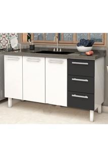 Gabinete Cozinha Cozimax Venus Flat Aço Para Pia 1400 Mm Branco Preto