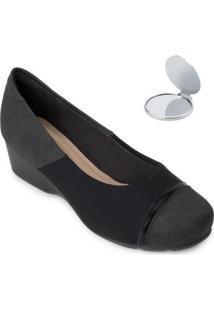 Sapato Modare Anabela E Espelho Md20-7014 - Feminino-Preto