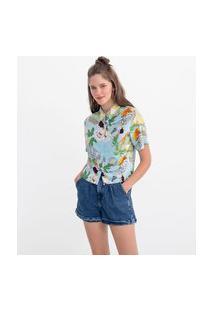 Camisa Manga Curta Estampa Folhagens E Frutas | Blue Steel | Azul | Pp