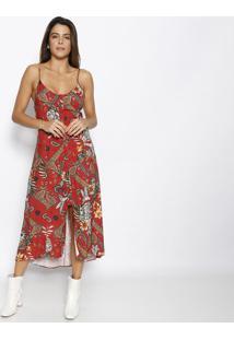 Vestido MãDi Com Fenda- Bordã´ & Verde- Sommersommer