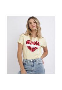 Blusa Feminina Mulher Maravilha Coração Redondo Manga Curta Amarelo Claro