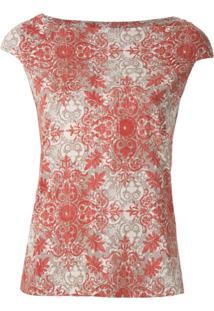 Fillity Blusa Estampada Mangas Curtas - Vermelho