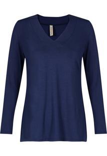 0c97317cd1 ... Blusa Básica Canellado Viscolycra Decote V Com Pesponto Azul Marinho