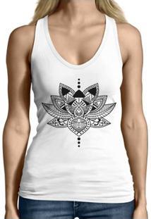 Regata Criativa Urbana Cavada Engraçadas Lotus - Feminino-Branco
