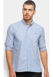 Camisa Lacoste Manga Longa Slim Masculina - Masculino-Azul