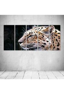 Quadro Decorativo - Leopard Neon Face (5) - Composto De 5 Quadros
