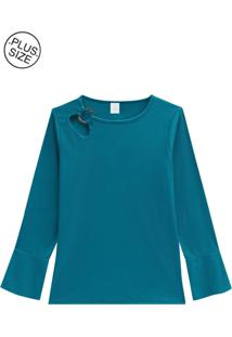 Blusa Lecimar Em Punho Viscoplus Outono Inverno Manga Longa Azul Carbono - Tricae