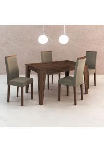 Conjunto De Mesa Com 4 Cadeiras Tibete Suede Nogal E Cinza