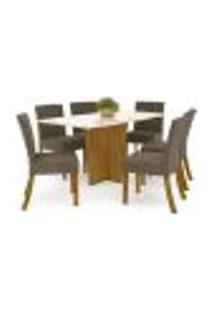 Mesa De Jantar Vértice 160Cm 6 Cadeiras Maris - Nature/Off White/Marrom Claro