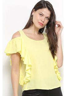 Blusa Jolie Open Shoulder Babado Feminina - Feminino-Amarelo