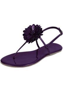 Rasteira Mercedita Shoes Verniz Flor Feminina - Feminino-Roxo