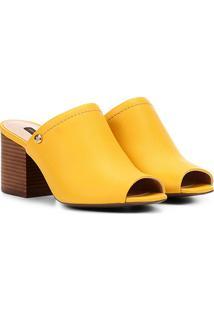 Tamanco Couro Jorge Bischoff Salto Grosso Textura Feminino - Feminino-Amarelo