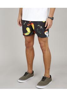 Short Masculino Estampado De Tucanos Com Bolsos Preto