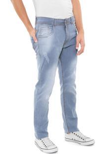 Calça Jeans Grifle Company Slim Desgaste Azul