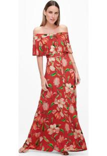 Vestido Vermelho Ombro A Ombro Floral