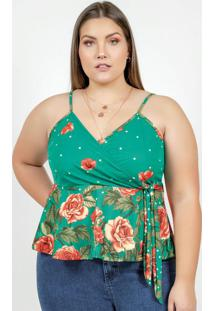 Blusa Floral De Alças E Peplum Plus Size