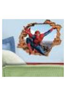 Adesivo De Parede Buraco Falso 3D Homem Aranha 06 - M 61X75Cm
