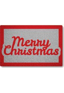Tapete Capacho Merry Christmas - Prata