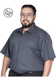 Camisa Plus Size Bigshirts Manga Curta Lisa Chumbo