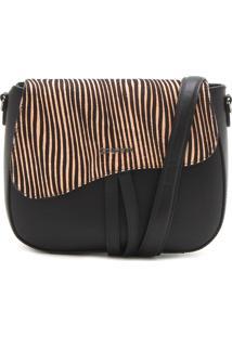 Bolsa Couro Dumond Zebra Preta