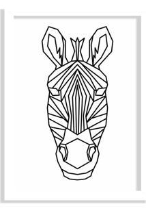 Quadro Decorativo Line Drawing Zebra Branco - Médio
