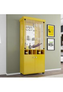 Cristaleira 2 Portas Em Vidro Monza Móveis Bechara Amarelo