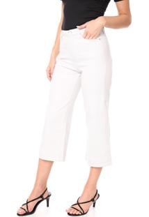 Calça Sarja Calvin Klein Pantacourt Lisa Off-White
