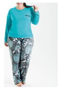 Pijama Longo Poliviscose Laibel (15007673) Plus Size