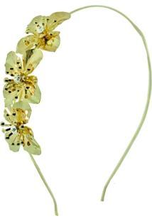 Tiara Dourado Três Flores - Feminino