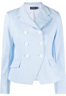 Polo Ralph Lauren Blazer Com Abotoamento Duplo De Algodão - Azul