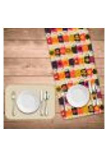 Jogo Americano Com Caminho De Mesa Wevans Xícaras Coloridas Kit Com 2 Pçs + 2 Trilhos