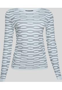Suéter De Tricô Feminino Estampado Decote Redondo Off White