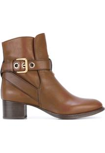 Chloé Ankle Boot De Couro 'Max' - Brown