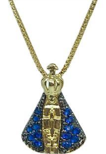 Colar Com Pingente Nossa Senhora Aparecida Delicado Em Zircônia Azul