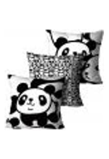 Kit Com 3 Capas Para Almofada Infantil Panda Preto E Branco 45X45Cm