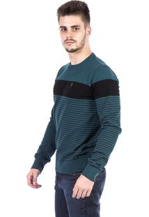Blusa Tricot Carlan Decote Redondo Listra Larga Verde