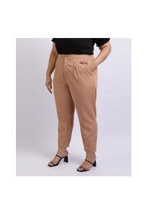 Calça Jeans Feminina Mindset Plus Size Cm Pregas Cintura Alta Com Bolsos Bege