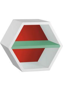 Nicho Com Prateleira Favo 1151 Branco/Vermelho/Verde Anis - Maxima