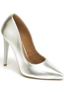 Scarpin Metalizado Salto Alto Bico Fino Ellas Feminino - Feminino-Prata
