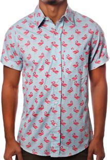 Camisa Camaleão Urbano Flamingos Azul Claro
