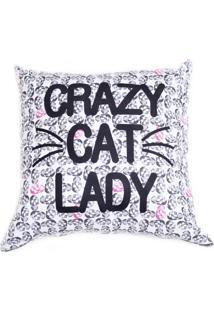 Capa De Almofada Stooge Crazy Cat Lady Iii Branco