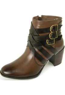 Bota Ankle Boot Dhatz Não Possui Cadarço Com Fivela Café