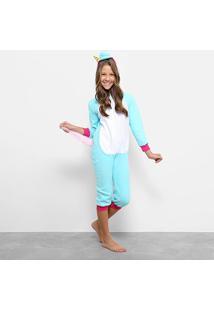 Pijama Kigurumi Longo Unicórnio 3D Feminino - Feminino-Azul+Branco