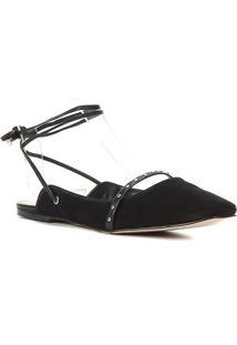 Sapatilha Couro Shoestock Bico Quadrado Cravos Feminina - Feminino-Preto