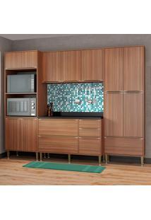 Cozinha Compacta Com Tampo 13 Portas 5452 Nogueira - Multimóveis