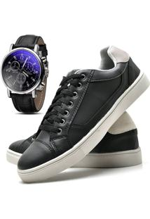 Sapatênis Sapato Casual Com Relógio Juilli Com Cadarço Masculino 04L Preto