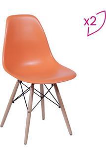 Jogo De Cadeiras Eames Dkr- Laranja & Bege- 2Pã§Sor Design